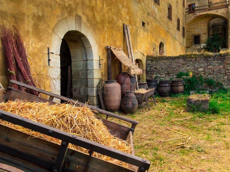 Hulpmiddelen en voorwerpen die tot een middeleeuwse era behoren royalty-vrije stock afbeelding
