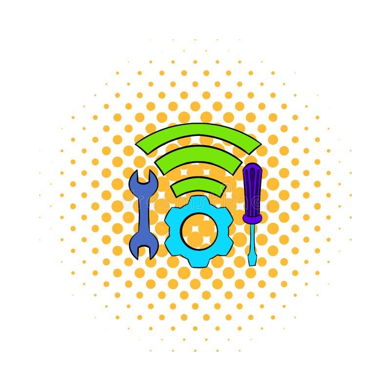Hulpmiddelen en wifipictogram, strippaginastijl vector illustratie