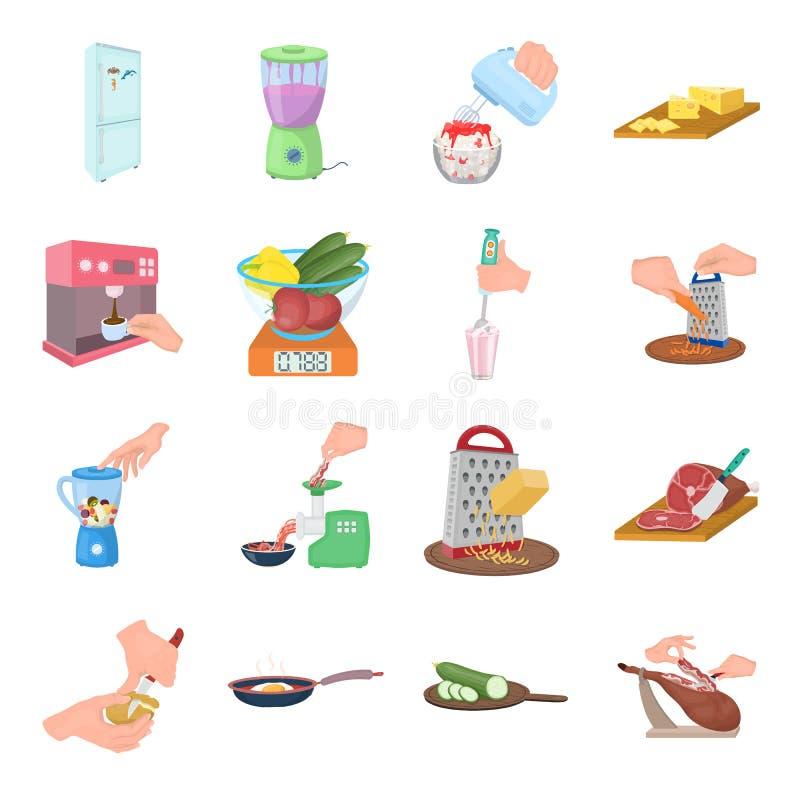 Hulpmiddelen, keuken, materiaal en ander Webpictogram in beeldverhaalstijl komkommer, tomaat, peperpictogrammen in vastgestelde i vector illustratie