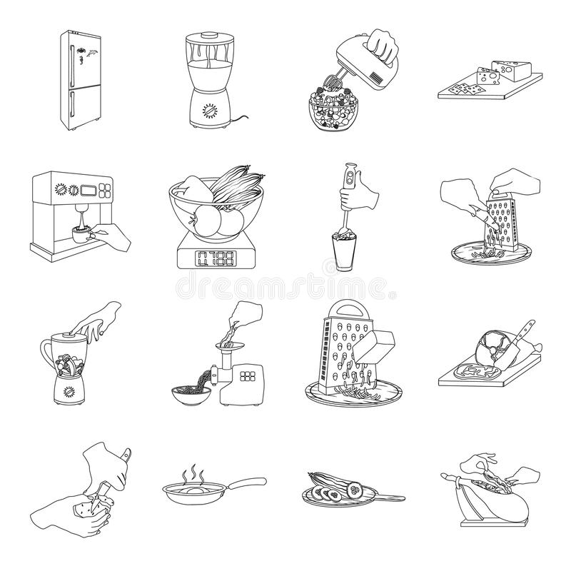 Hulpmiddelen, keuken, materiaal en ander Webpictogram in overzichtsstijl komkommer, tomaat, peperpictogrammen in vastgestelde inz vector illustratie