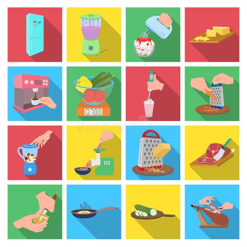 Hulpmiddelen, keuken, materiaal en ander Webpictogram in vlakke stijl komkommer, tomaat, peperpictogrammen in vastgestelde inzame royalty-vrije illustratie