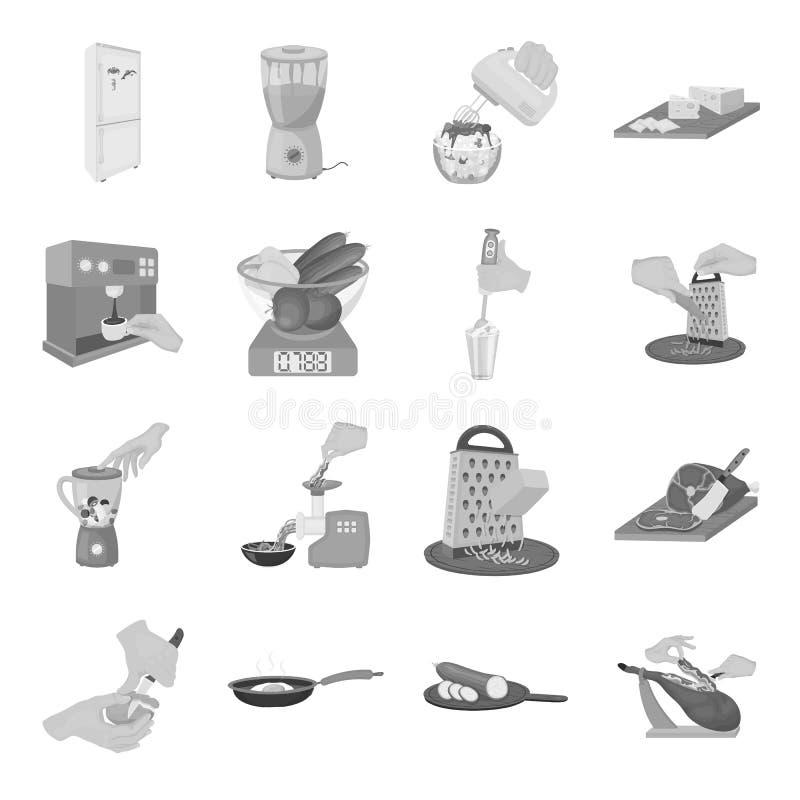 Hulpmiddelen, keuken, materiaal en ander Webpictogram in zwart-wit stijl komkommer, tomaat, peperpictogrammen in vastgestelde inz stock illustratie