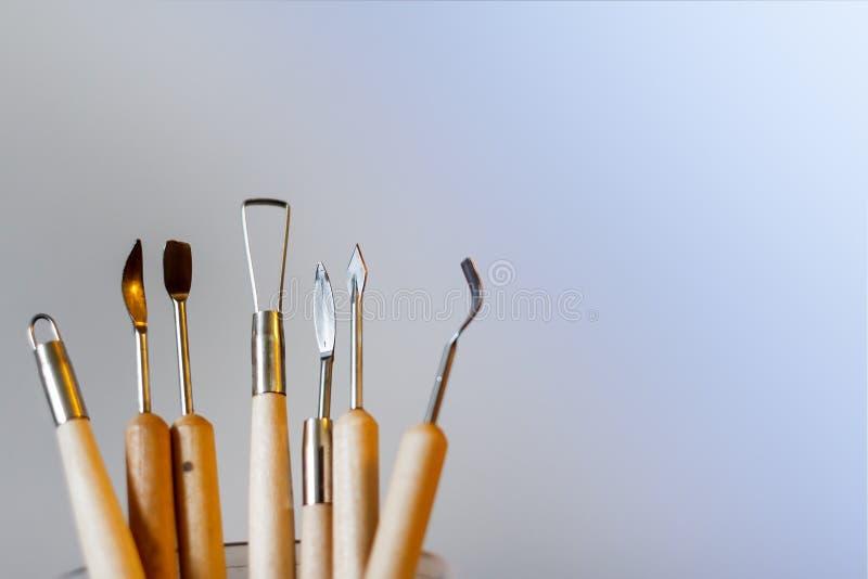 Hulpmiddelen om van polymeerklei te vormen royalty-vrije stock afbeelding
