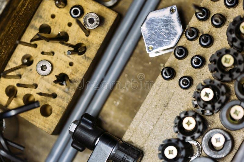 Hulpmiddelen van een juwelier stock afbeelding