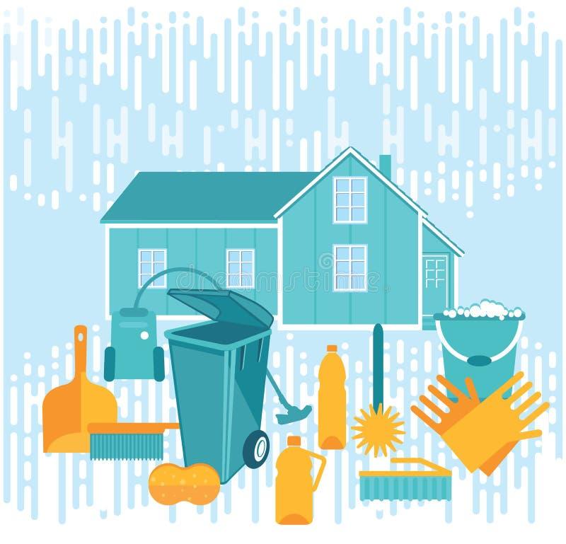 Hulpmiddelen voor huis het schoonmaken stock illustratie