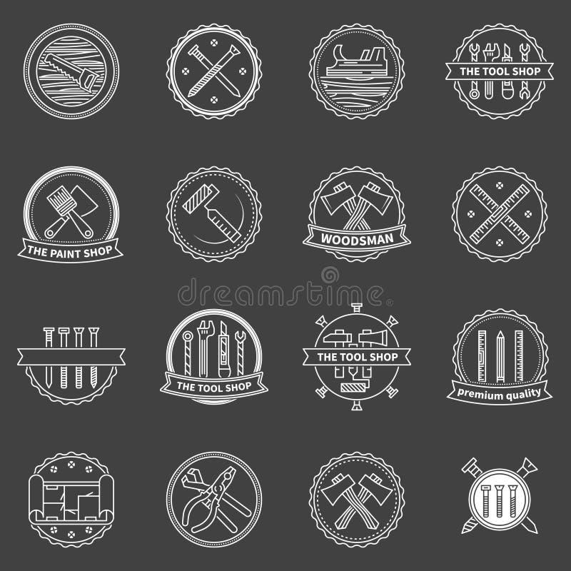 Hulpmiddelenkentekens en emblemen royalty-vrije illustratie