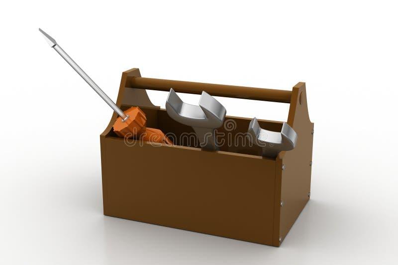 Hulpmiddeluitrusting met moersleutel en schroevedraaier stock illustratie