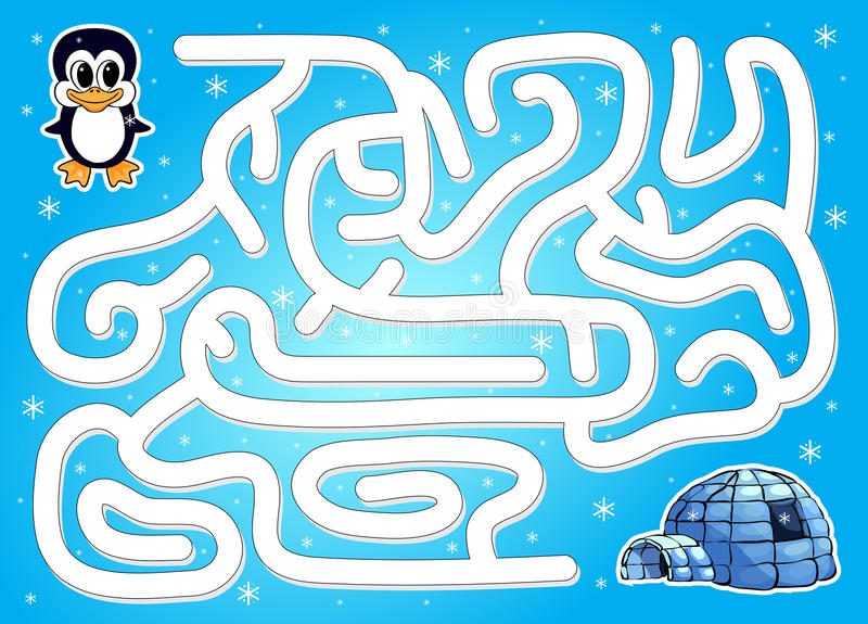 Hulppinguïn om manier aan iglo te vinden in een de winterlabyrint royalty-vrije illustratie