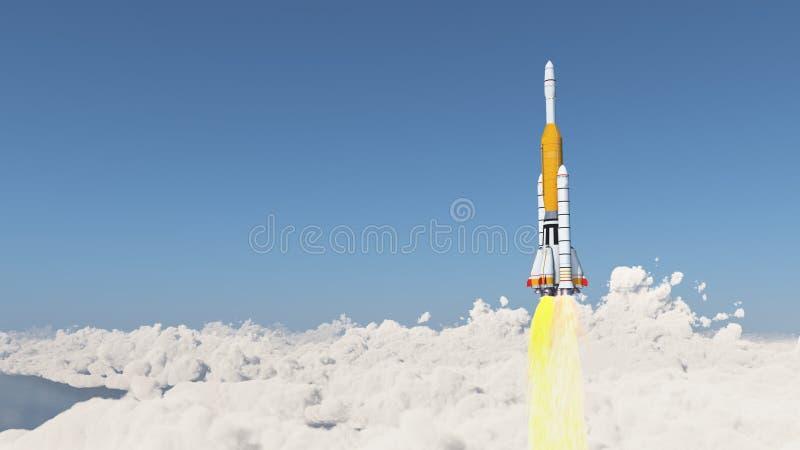 Hulpraket over de wolken vector illustratie