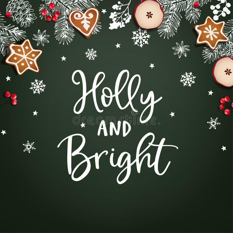 Hulst en de Heldere kaart van de Kerstmisgroet, uitnodiging Decoratief kader, banner De hand getrokken takken van de krijtspar stock illustratie