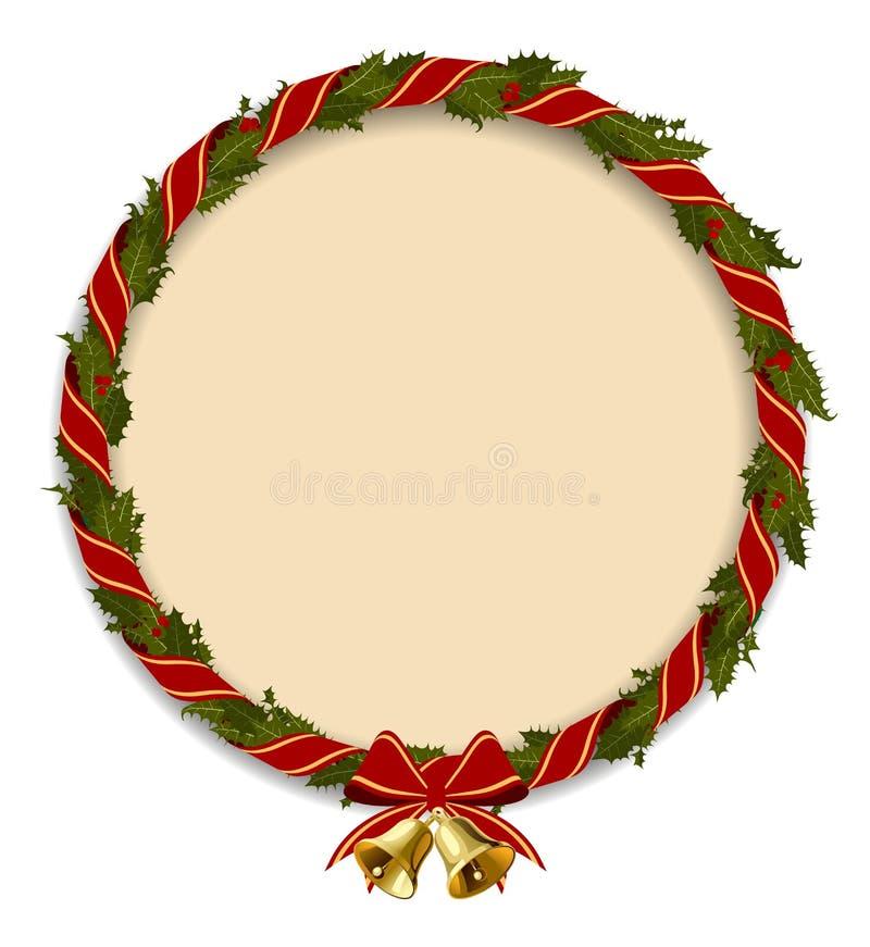 Hulstkroon om kader met gouden die klokken op wit wordt geïsoleerd stock illustratie