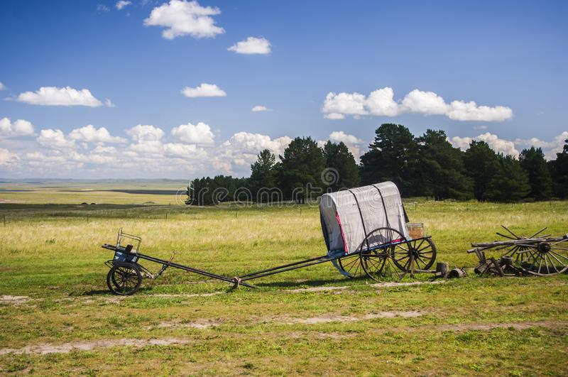 A carriage on the grassland stock photography
