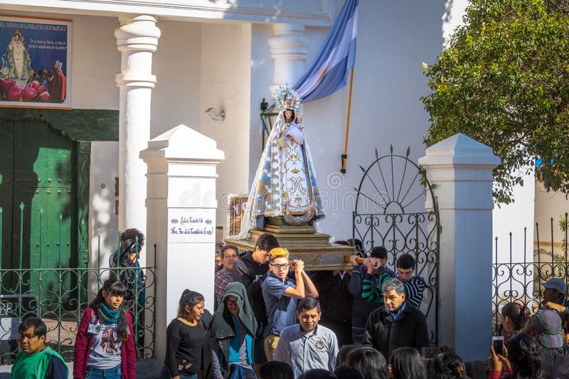 Our Lady of Candelaria virgin statue carried through procession - Humahuaca, Jujuy, Argentina. Humahuaca, Jujuy, Argentina - Apr 28, 2018: Our Lady of Candelaria stock photo