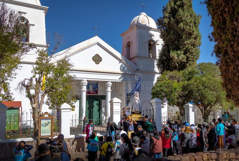 Our Lady of Candelaria virgin statue carried through procession - Humahuaca, Jujuy, Argentina. Humahuaca, Jujuy, Argentina - Apr 28, 2018: Our Lady of Candelaria royalty free stock photography