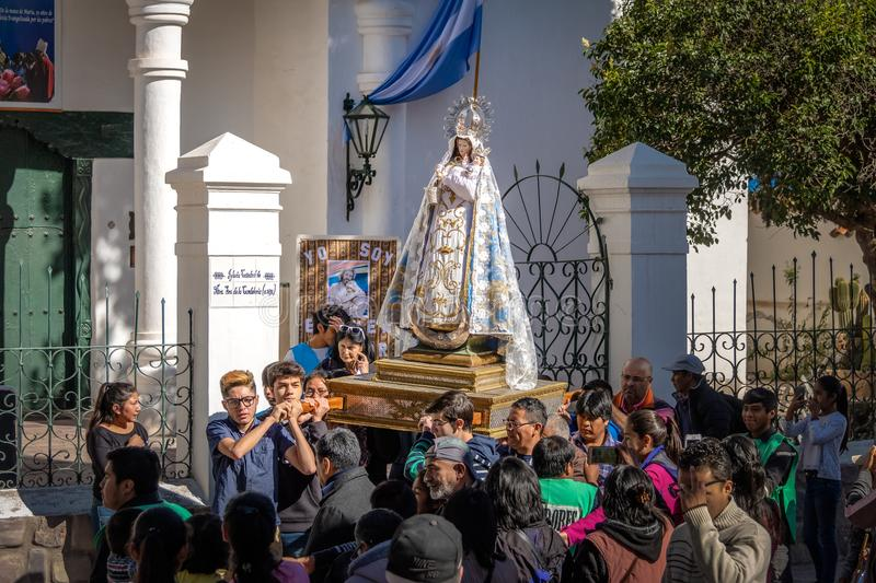Our Lady of Candelaria virgin statue carried through procession - Humahuaca, Jujuy, Argentina. Humahuaca, Jujuy, Argentina - Apr 28, 2018: Our Lady of Candelaria royalty free stock photo