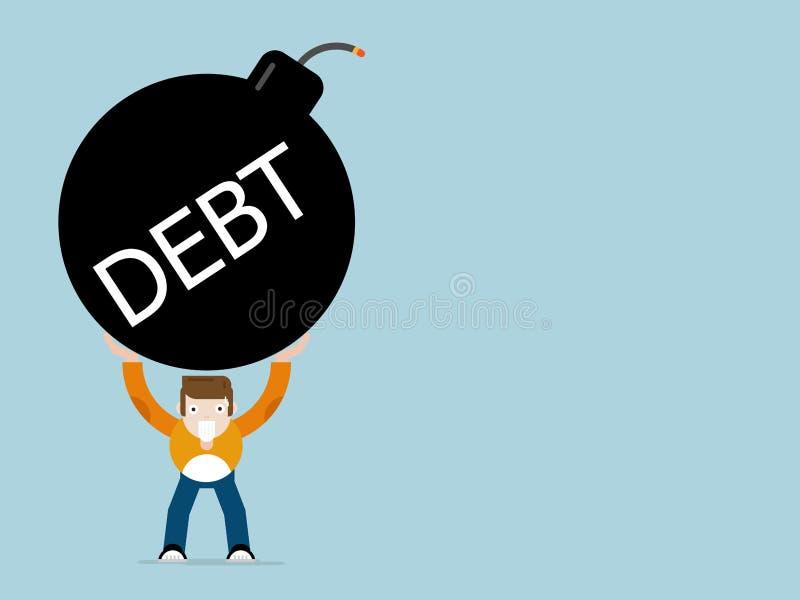 Humain avec la bande dessinée de bombe de dette illustration de vecteur