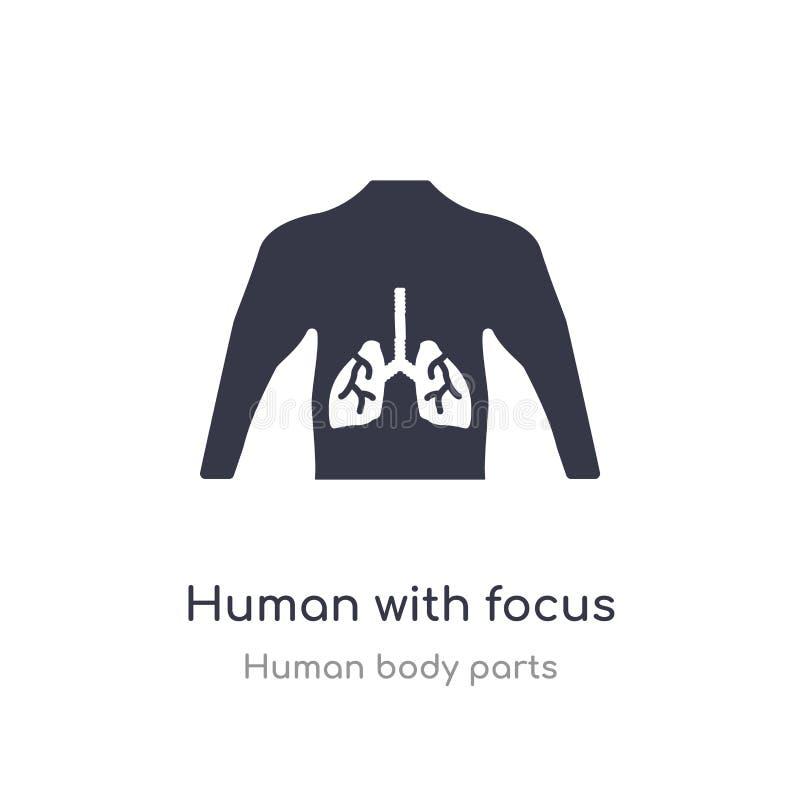 humain avec le foyer sur l'icône d'ensemble de poumons ligne d'isolement illustration de vecteur de collection de pi?ces de corps illustration de vecteur