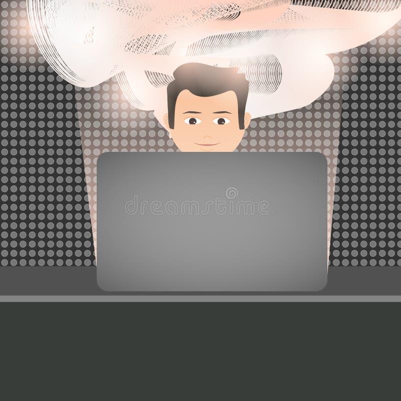 humain positif et innovateur dans un bureau moderne avec l'ordinateur portable Vecteur illustration de vecteur