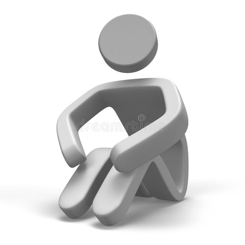 Humain qui Sit On Ground illustration de vecteur