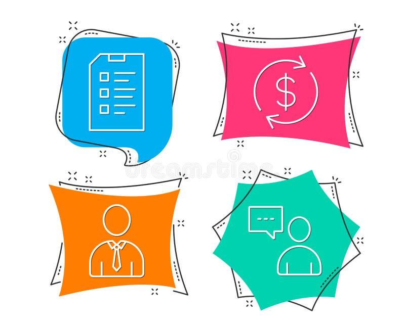 Humain, USD d'échange et icônes de liste de contrôle Signe de causerie d'utilisateurs Profil de personne, cours des devises, list illustration de vecteur