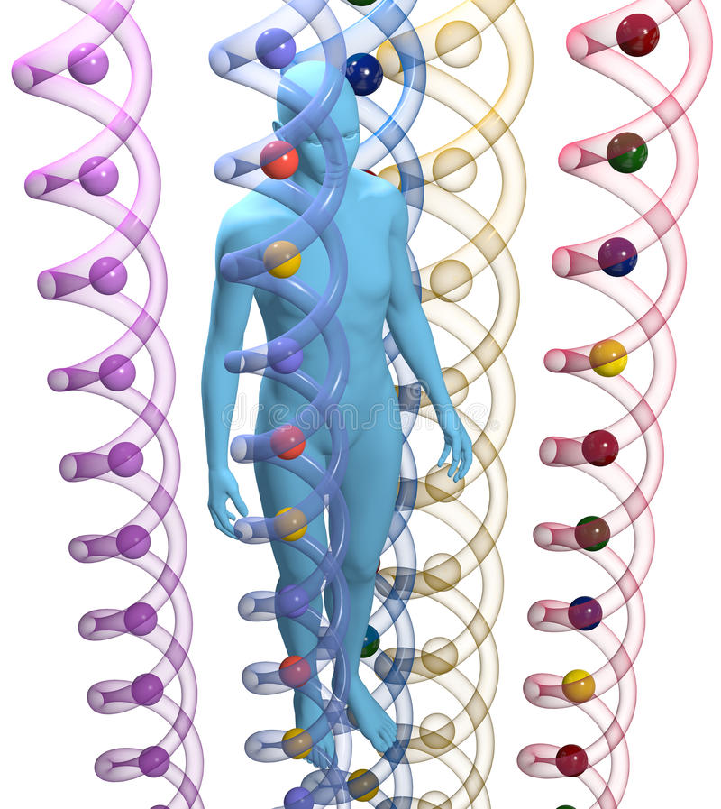 Human 3D DNA Genetic Science Person Stock Photo