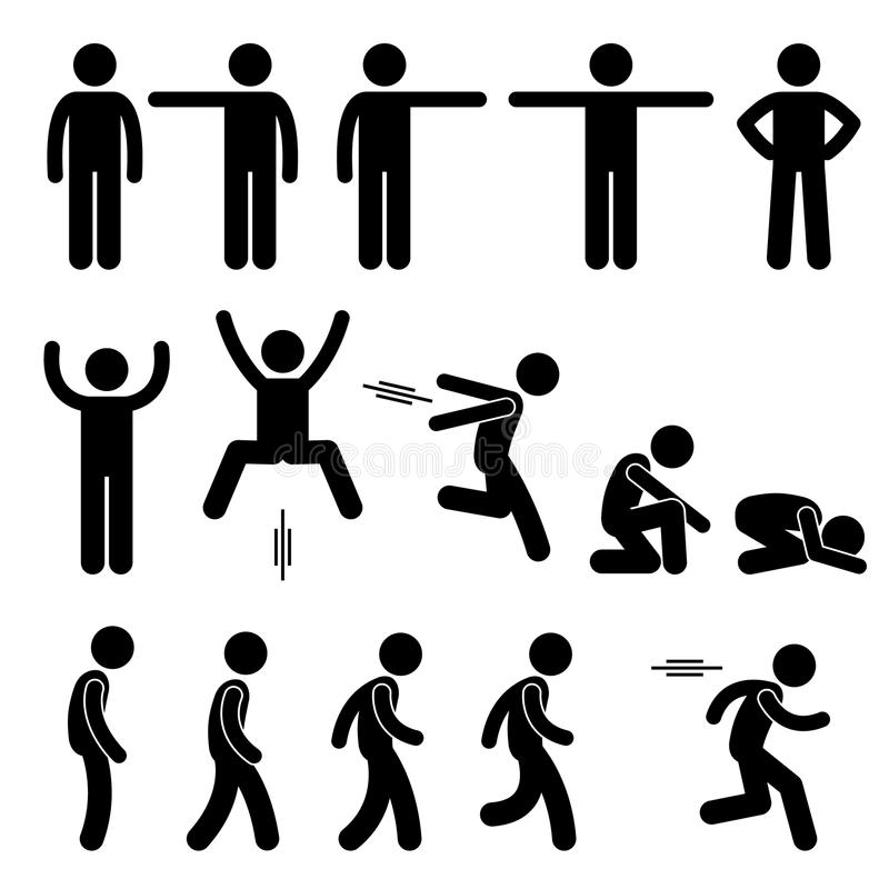 Free Human Action Poses Postures Icons Royalty Free Stock Photography - 48964067