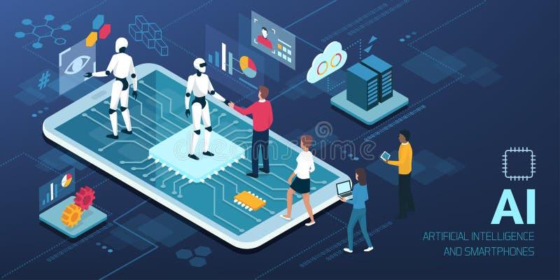 Human-AI interaction, people meeting robots vector illustration