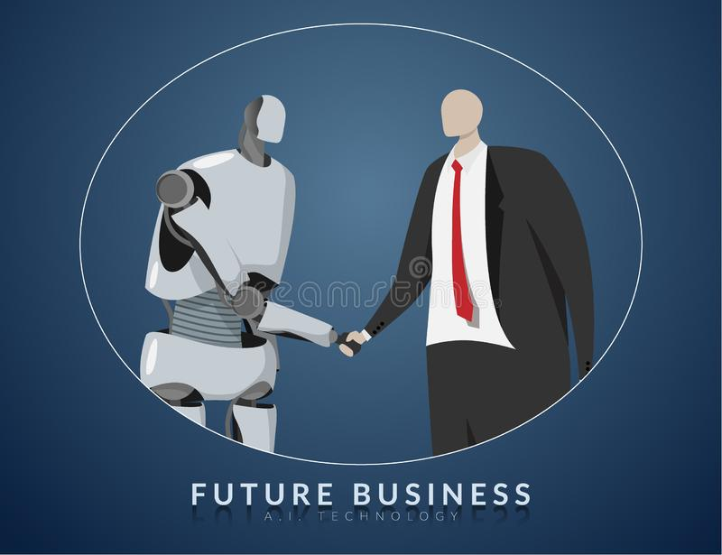 Human and AI working together , future business , technology and innovation concept. AI or artificial intelligence shaking hand royalty free illustration