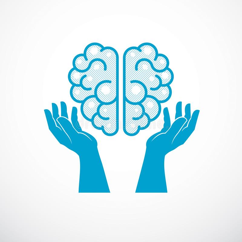 Human anatomical brain with tender defending hands of care. Vector illustration, logo or icon. Care for mental health, careful. And correct education concept royalty free illustration