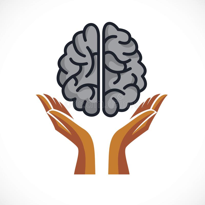 Human anatomical brain with tender guarding hands, mental health. Psychology conceptual logo or icon, protection of individuality and education. Vector simple royalty free illustration