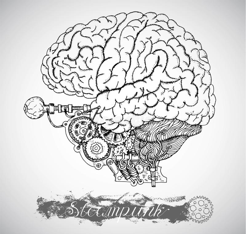 Human Anatomy Brain With Vintage Mechanism In Steampunk Style Stock