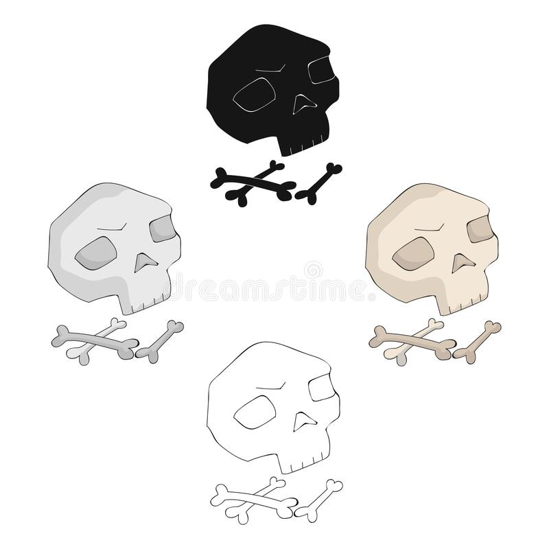 Human ancient bones icon in cartoon,black style isolated on white background. Stone age symbol stock vector illustration. Human ancient bones icon in cartoon royalty free illustration
