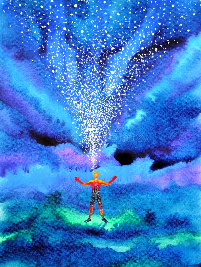 Free Human And Spirit Powerful Energy Connect To The Universe Power Stock Photography - 118855372