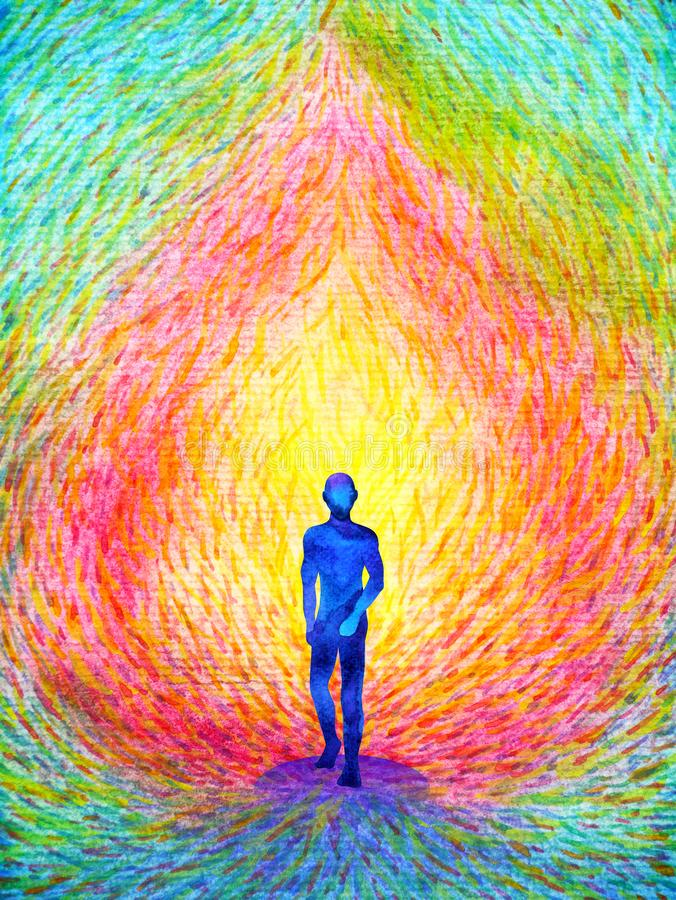 Free Human And Spirit Powerful Energy Connect To The Universe Power Abstract Art Watercolor Painting Illustration Design Hand Drawing Stock Photography - 145772772