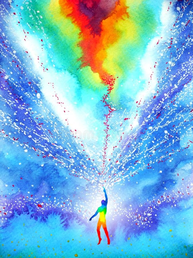 Free Human And Spirit Powerful Energy Connect To The Universe Power Abstract Art Watercolor Painting Illustration Design Hand Drawn Stock Image - 142372541