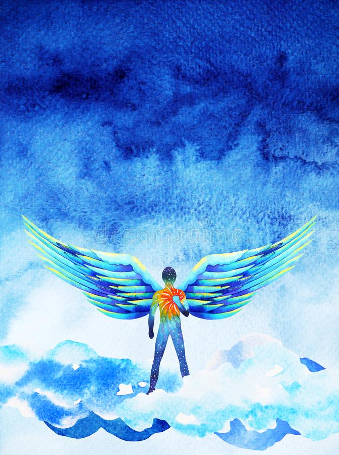 Human angel wing mind heaven power watercolor painting illustration stock illustration