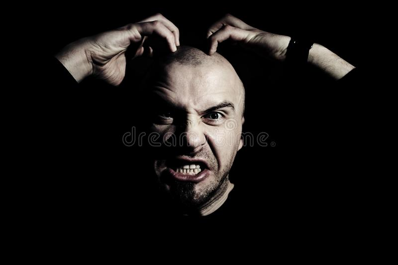 Human anger. Man with expression of rage on his face