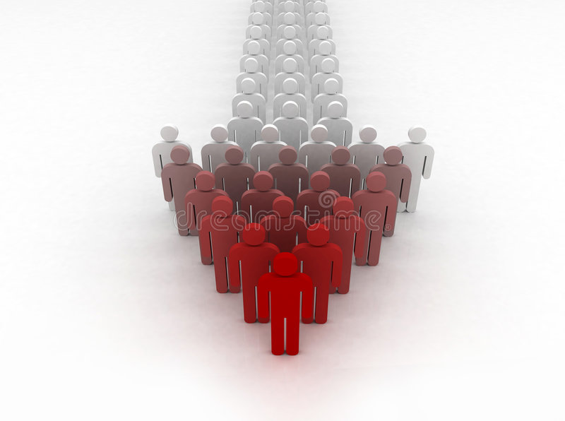 Human arrow. Group of people forming an arrow with their leader in front royalty free illustration