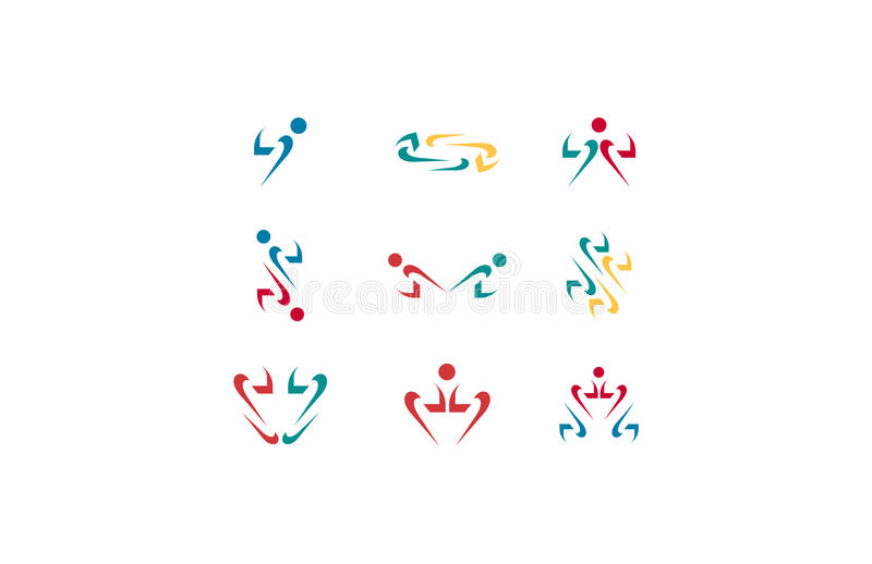 Human arrow logo, arrow infinity, arrow people, arrow heart logo, s arrow logo. Human arrow logos and social people arrow infinity logo stock illustration