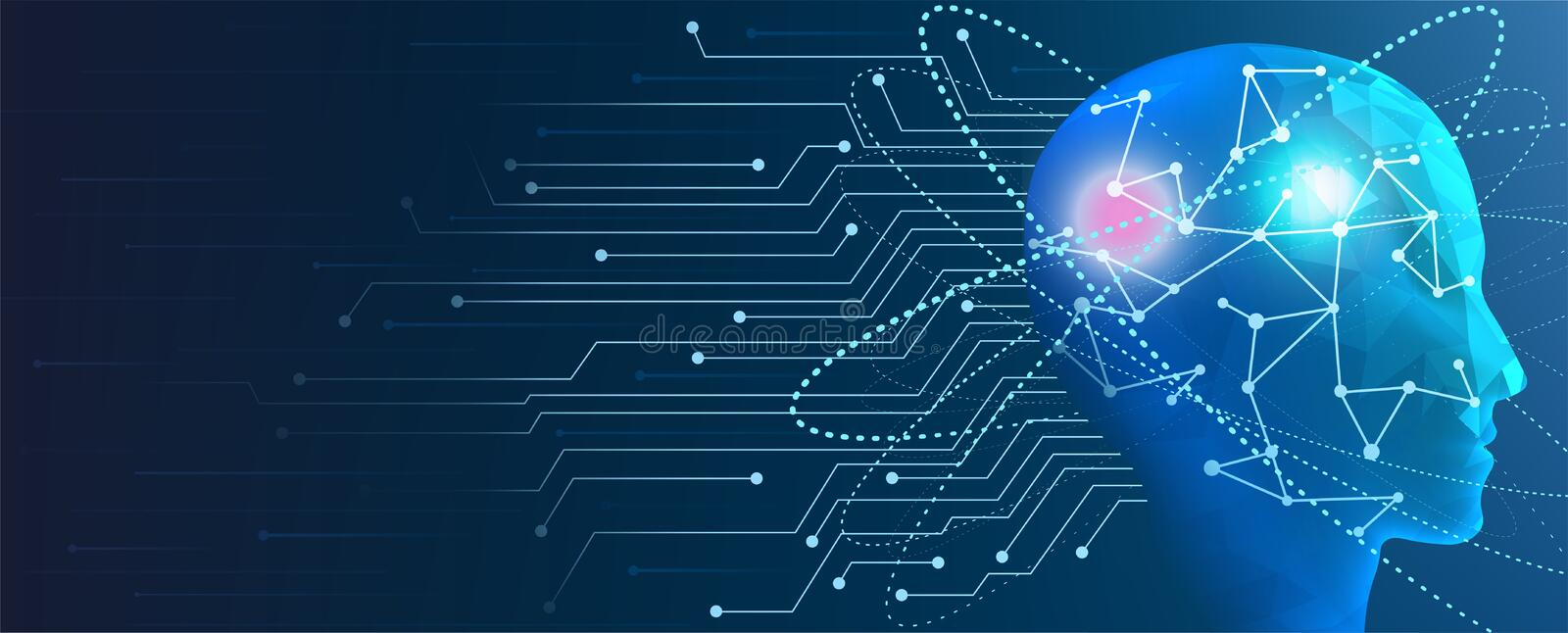 Human Artificial Intelligence. Concept of machine cyber mind. stock illustration