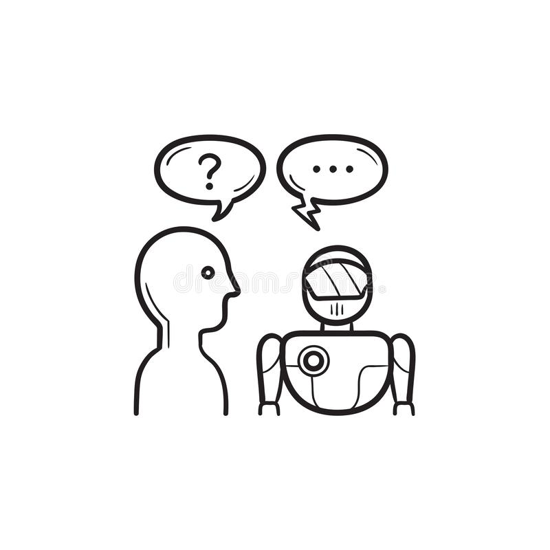 Human asking artificial intelligence hand drawn outline doodle icon. royalty free illustration
