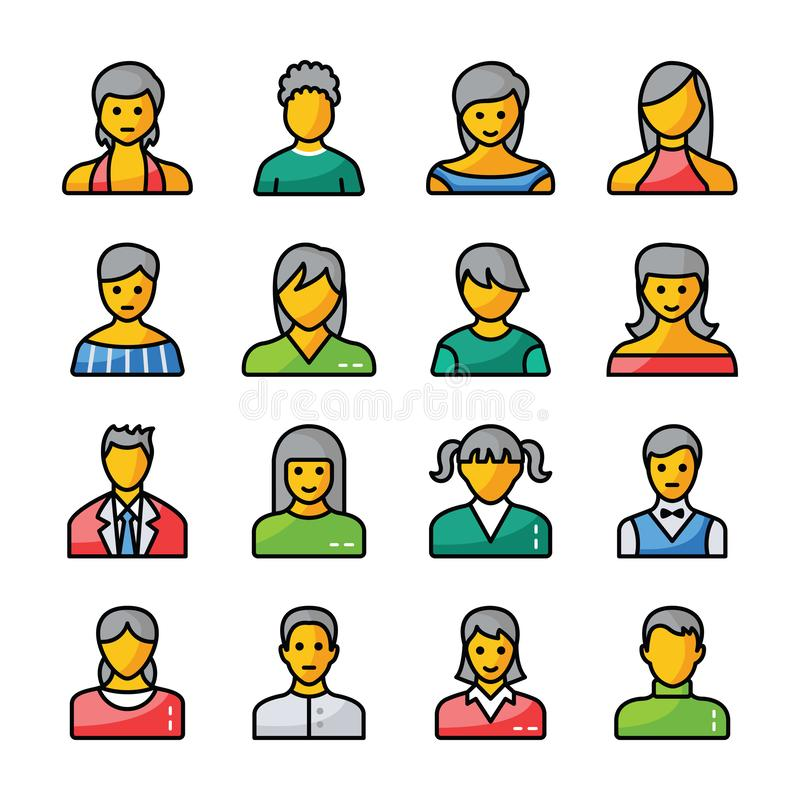 Human Avatars Flat Icons royalty free illustration
