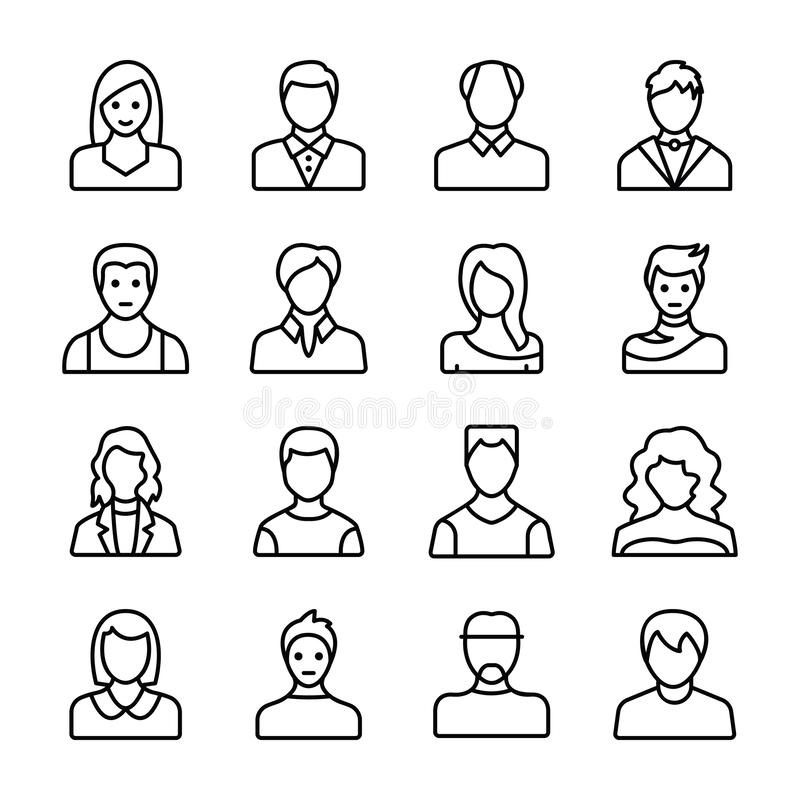 Human Avatars Line Icons vector illustration