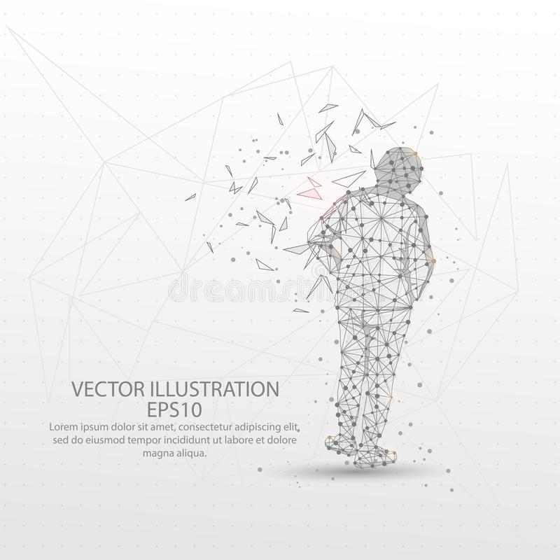 Human back view form low poly wire frame on white background. Human back view form mesh line and composition digitally drawn in the form of broken a part vector illustration