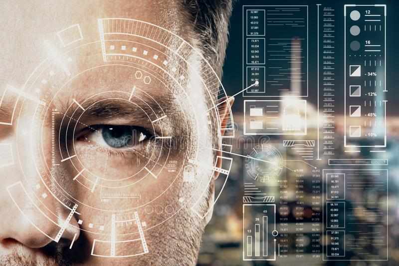 Human being futuristic vision concept with man and cyberspace screen with digital data royalty free stock images