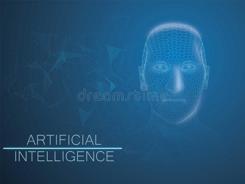 Human Big data visualization. Futuristic Artificial intelligence concept wireframe style with plexus elements. Cyber vector illustration