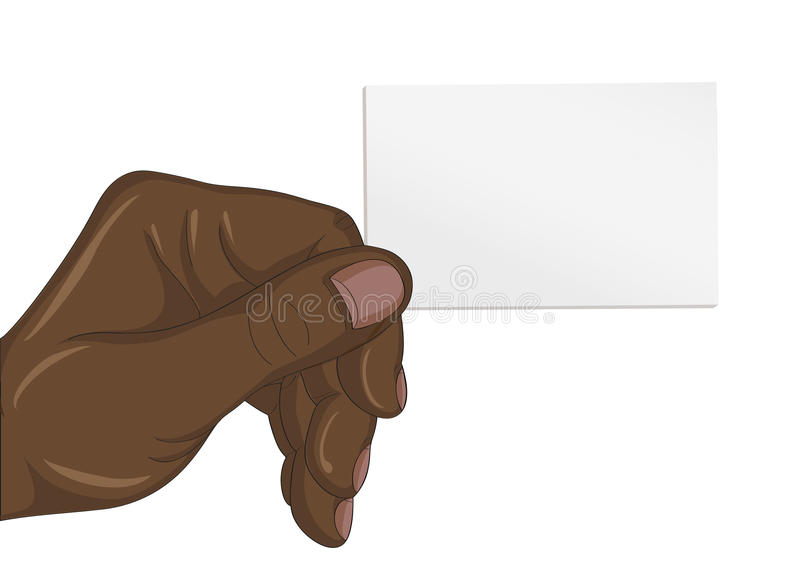 Human black hand man business card with your fingers. Empty space stock illustration