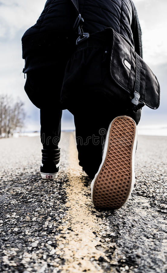 Human On Black Shirt And Pants Kneeling On Road During Daytime Free Public Domain Cc0 Image