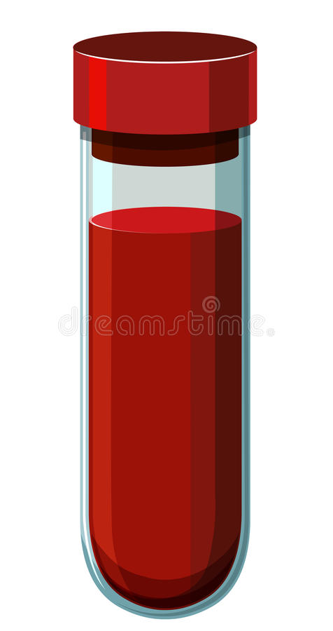 Human blood in test tube stock illustration