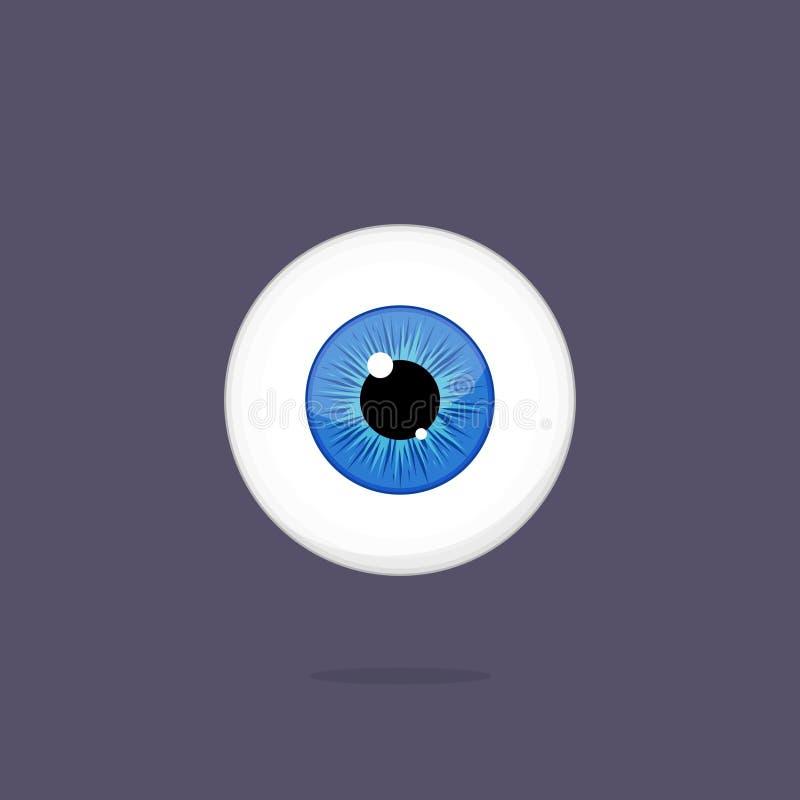Human blue eye isolated on dark background. Eyeball iris pupil. Human blue eye isolated on dark background. Eyeballs iris pupil vector Illustration royalty free illustration